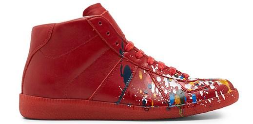 Stylové boty Maison Martin Margiela vypadají jako pocákané od barvy