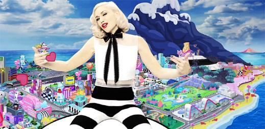 Gwen Stefani z obláčku shlíží na animované město v klipu Spark The Fire