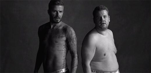 David Beckham a James Corden představují společnou značku spodního prádla D&J Briefs