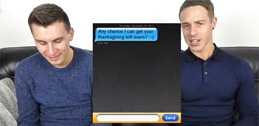 Gay páry čtou konverzace z Grindru