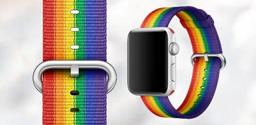 3 fotografie nového řemínku pro hodinky Apple Watch. Jsou přímo od Applu na podporu Gay Pride!